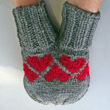 Smitten, Love-Glove, Couples Double Mitten, Grey + Red Hearts Smitten, Grey Knitted Double Mitten, Grey Lovers Mitten, Valentines Day Gift