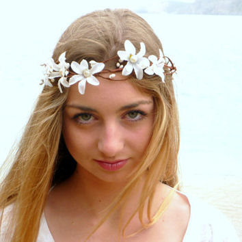 White Bridal Flower Crown, Bridal Headpiece, Bridal Accessory, Floral Headpiece, wedding crown