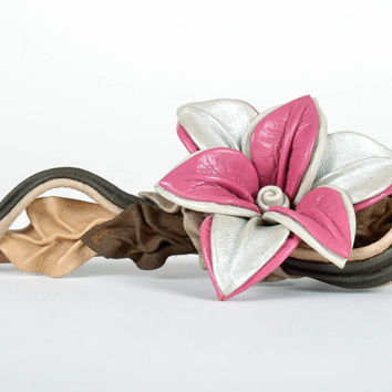 Hair Pin with Flower Made of Leather