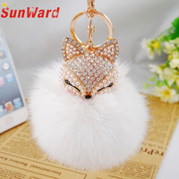 Faux Rabbit Fur Ball Keychain Artificial Fox Head Inlay Pearl Rhinestone Car Key Chain Handbag Key Ring Delicate