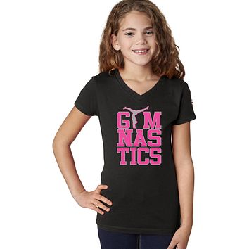 Girls Gymnastics Text V-Neck Shirt