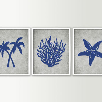 Bathroom Decor - Tropical Bathroom Wall Art - Tropical Bath Prints - Beach Bathroom Decor - Palm Trees Starfish Coral - Set of 3