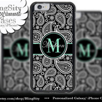 Monogram Black Paisley Iphone 6 case 6 Plus Mint Damask Personalized Name Iphone 4 4s 5 5s 5c 6 6+ Ipod Touch Cover