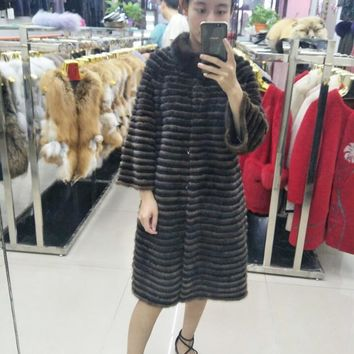 Mink coat full mink horizontal mink velvet knitted pure cashmere sweater long custom made fattening real fur coat