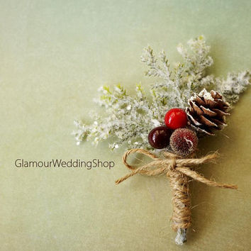 Rustic Boutonniere Winter Boutonniere Woodland Wedding Boutonniere Christmas Wedding Boutonniere