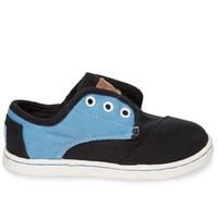 Black Blue Canvas Tiny TOMS Paseos