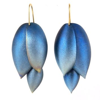 Ted Muehling Asparagus Earrings Blue Niobium 14k Gold Earwires, Contemporary, Post 1990