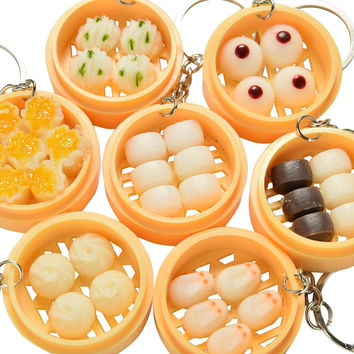 Creative Gifts Emulation Food Buns Steamers Keychain Phone Pendant Multi Styles SM6