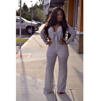 Long Sleeve Bow-Tie V-Neck Jumpsuit