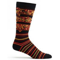 Mens Floral Stripes Sock