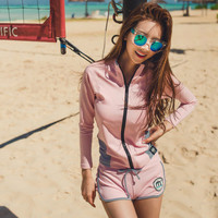 2017 Trending Fashion Women High Waisted Long Sleeve Sport Two-Piece Beachwear Jacket _ 13347
