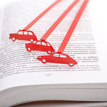 Bookmark Citroen DS laser cut metal powder coated. Gift edition. Free shipping.