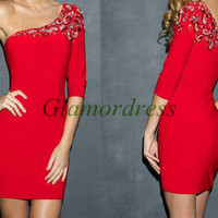red satin homecoming dress with rhinestone / short sexy prom dresses/ latest one sleeve cocktail gowns cheap dress for holiday party