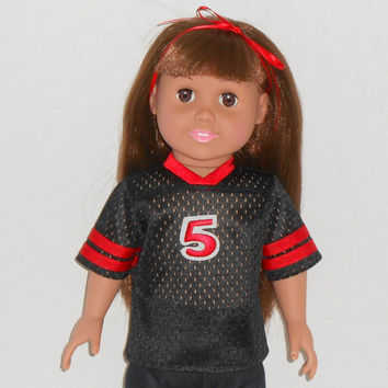 18 inch Girl or Boy Doll Black and Red Football Jersey fits AG dolls