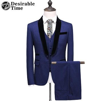 Men Blue Suits with Pants Fashion Shawl Collar Men Slim Fit Wedding Prom Suit