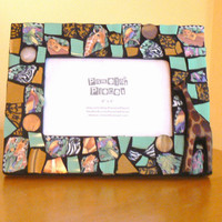 Jungle Mosaic Picture Frame- Broken China Mosaic