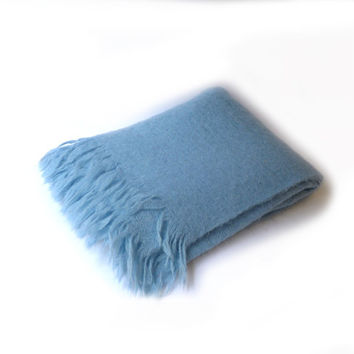 Vintage pale blue soft mohair wool travel blanket throw