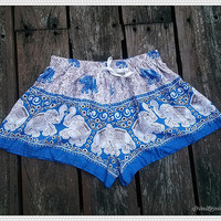 Blue Elephant Shorts Printed Comfy Beach For Summer Hippie Hipster Exotic Boho Clothing Aztec Ethnic Bohemian Ikat Boxers Pants Thai Cloth