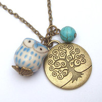 Antiqued Brass Tree Turquoise Porcelain Owl necklace by gemandmetal on Etsy