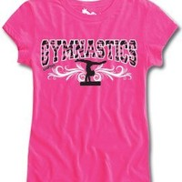 Sports Katz Big Girls GYMNASTICS Zebra Fashion T-Shirt Hot Pink Youth Medium