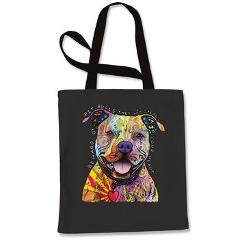 Beware Of Pit Bulls, They Will Steal Your Heart  Shopping Tote Bag