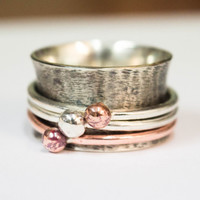 Spinner rings for women, Anxiety ring, Meditation silver ring, Worry ring, Wide band ring, Anxiety jewelry, Silver and copper spinner ring