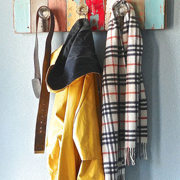 Reclaimed Wood Coat Rack - Made to Order from recycled antique and vintage wooden floor boards.
