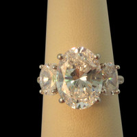 4.51 cts. Oval diamonds three stone engagement ring new