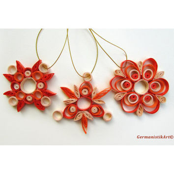 Quilling Christmas Decoration Set of 3 Orange Nuanced Quilled Snowflakes, Christmas Home Decoration in Orange