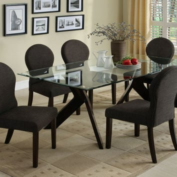 A.M.B. Furniture & Design :: Dining room furniture :: Small Dinette Sets :: Espresso Finish sets :: 7 Pc. Grandview I Contemporary Style Espresso Wood Finish Dining Set with Beveled glass top dining table