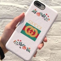 GUCCI small fragrance wind gucci couple apple 6s mobile phone shell letter personality apple 7 phone covers