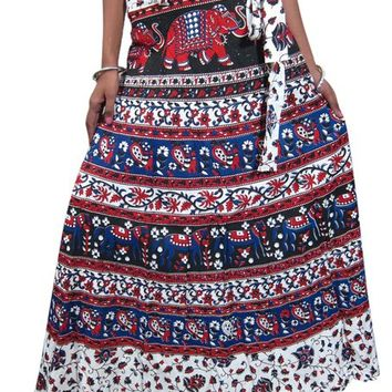 Wrap Skirt Red Blue Animal Floral Printed Cotton Long Wrap Around Skirt for Womens