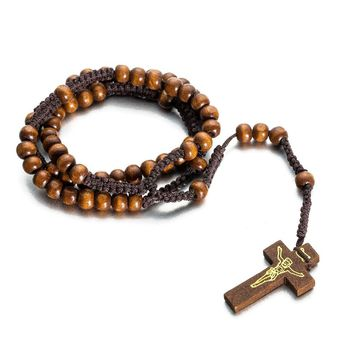 Wooden Bead Jesus Necklace