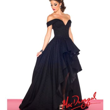 (PRE-ORDER) Mac Duggal 2014 Prom Dresses - Black Hi-Low Off-the-Shoulder Prom Gown