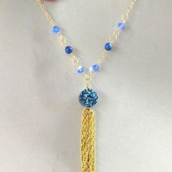 14 Kt Gold Filled Wire Wrapped Sapphire Blue Druzy Agate Tassel Necklace
