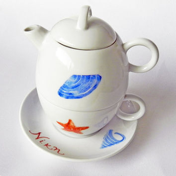 Sea world hand painted porcelain set with cup, saucer and tea pot