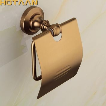 Free Shipping Wholesale And Retail Wall Mounted Bathroom Toilet Paper Holder Antique Brass Roll Tissue Box YT-10892