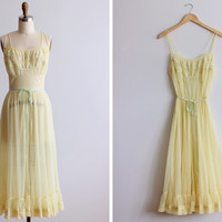 1950s Spring Mist Slip Dress / Yellow Van Raalte Night Gown