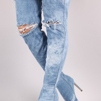 Liliana Destroyed Denim Stiletto Over-The-Knee Boots