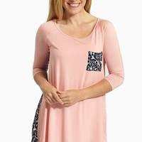 Pale Pink Animal Print Back 3/4 Sleeve Tunic