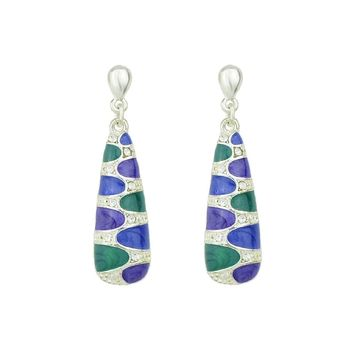 Silver Enamel Dangle Earrings Accessories From India