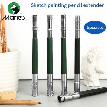 Maries 5Pcs/set Double Head Pencil Extender Sketch Painting Standard Pencil Extender Stationery For Drawing School Art Supplies