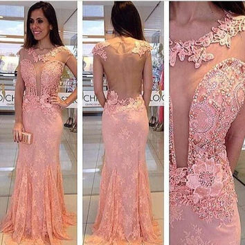 2017 Pink Mermaid Graduation Dresses Pearls Long Lady Dress Sheer Front And Back Formal Party Gowns Sexy Woman Dress M1497