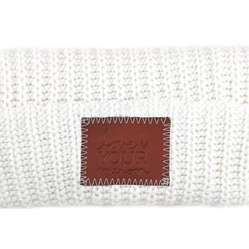White Leather Patched Cuffed Beanie - Love Your Melon
