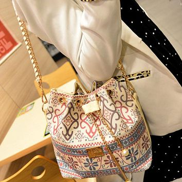 Bohemia Canvas Women Messenger Bags Drawstring Bucket Bag Shoulder Handbags