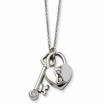 Synthetic Cz Heart Padlock & Key Pendant Necklace in Stainless Steel - Lobster