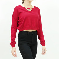 Long sleeve boxy knit crop top sweater Red