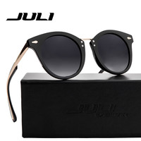 JULI Polarized Sunglasses Fashion Women Brand Designer Cat Eye Sun Glasses Rivet Eyewear For Male Female Unisex Ocluos De Sol