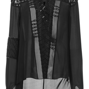 Black Silk Laser Cut Blouse