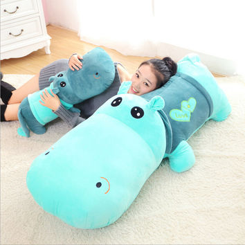 1pcs 35cm&45cm Cute Plush toy stuffed animal hippo doll cloth sleeping pillow Ragdoll birthday gift for child stuffed toys